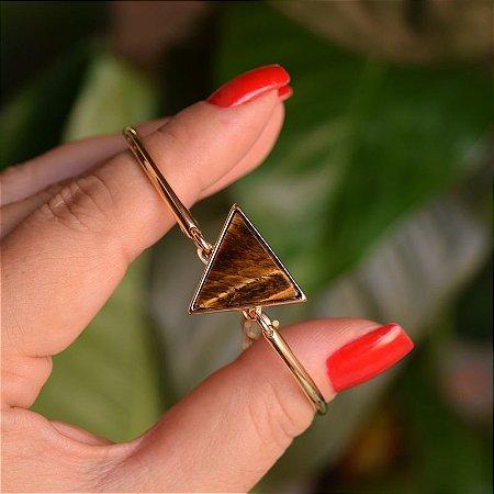Bracelete geométrico pedra natural olho de tigre ouro semijoia
