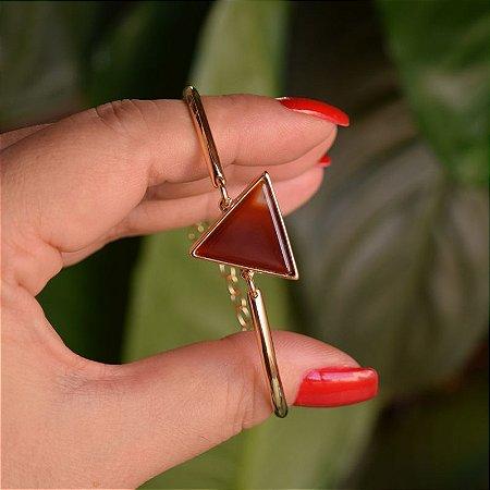 Bracelete geométrico pedra natural ágata vermelha ouro semijoia