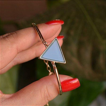 Bracelete geométrico pedra natural ágata azul céu ouro semijoia