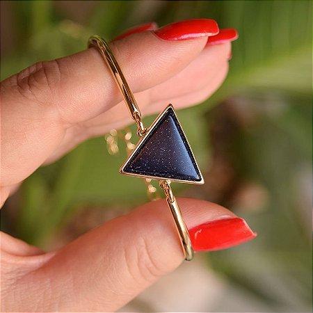 Bracelete geométrico pedra natural estrela ouro semijoia