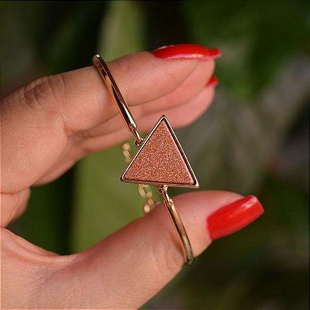 Bracelete geométrico pedra natural Sol ouro semijoia