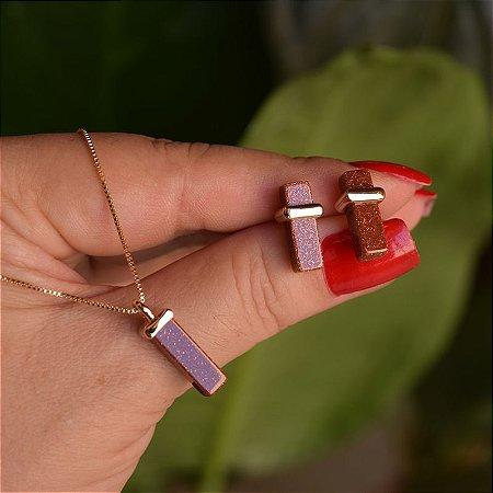 Colar e brinco geométrico pedra natural Sol ouro semijoia