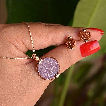 Colar e brinco redondo pedra natural sol ouro semijoia