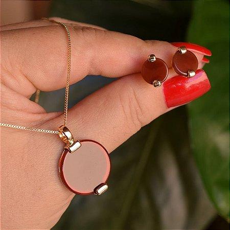 Colar e brinco redondo pedra natural ágata vermelha ouro semijoia