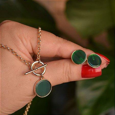 Colar e brinco redondo pedra natural ágata verde ouro semijoia