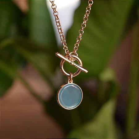 Colar pedra natural ágata azul céu ouro semijoia
