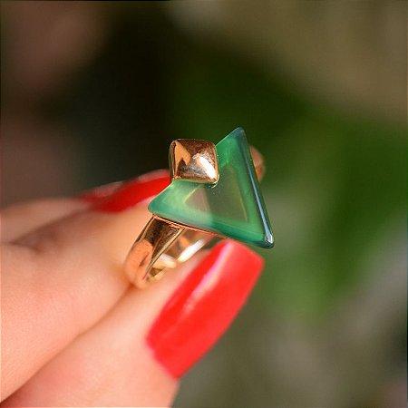 Anel geométrico pedra natural ágata verde semijoia