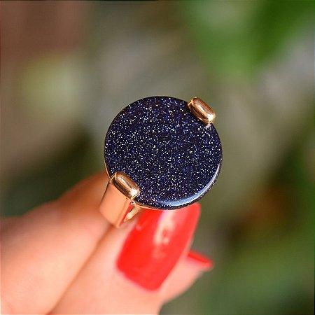 Anel redondo pedra natural estrela ouro semijoia