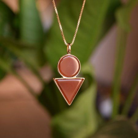 Colar geométrico pedra natural ágata vermelha ouro semijoia