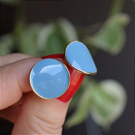 Brinco chapa ondulado metal esmaltado azul