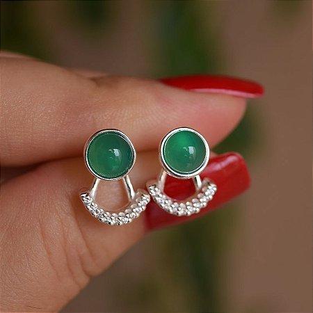 Brinco ear jacket pedra natural ágata verde e zircônia prata 925