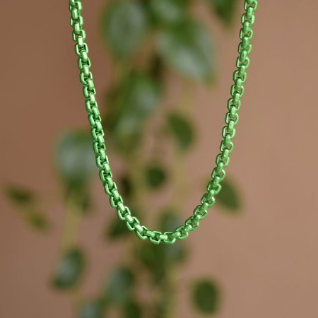 Colar curto corrente esmaltada verde