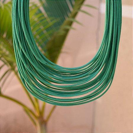 Colar Design Natural fios de algodão verde CO 1341