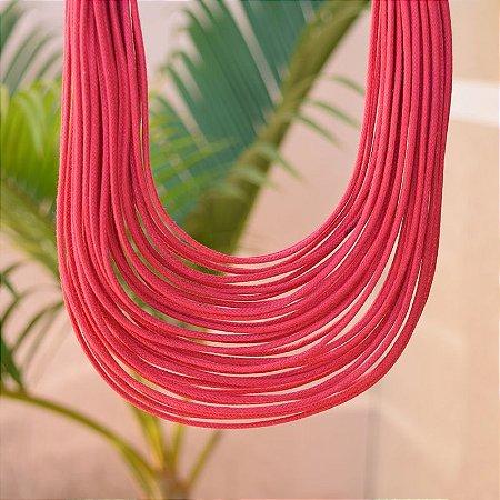 Colar Design Natural fios de algodão vermelho CO 1341