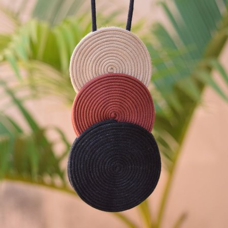 Colar longo Mandala fios de algodão tricolor CO 1434