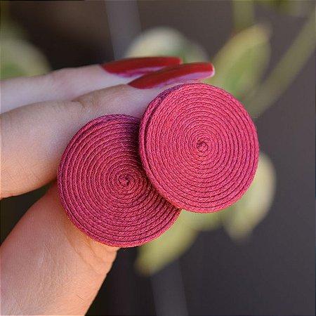 Brinco redondo Design Natural fios de algodão marsala BR 2046