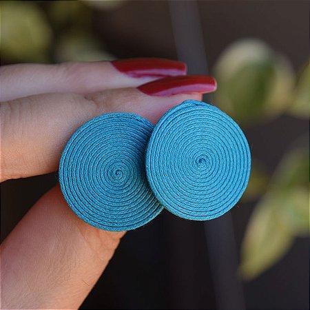 Brinco redondo Design Natural fios de algodão verde turquesa BR 2046