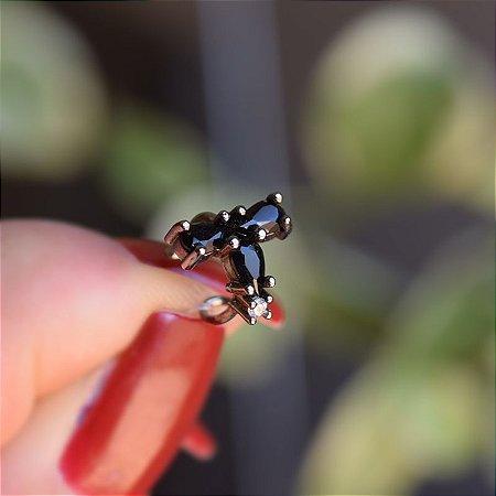 Piercing de encaixe zircônia black ródio negro semijoia