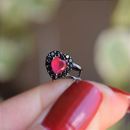 Piercing de encaixe coração vermelho ródio negro semijoia