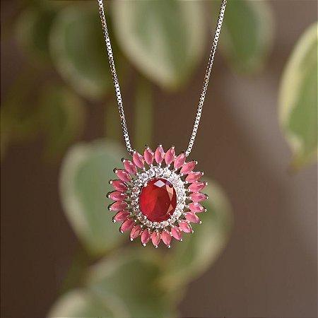 Colar mandala oval zircônia rosa ródio semijoia
