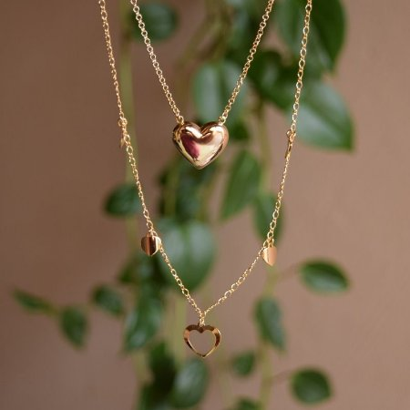 Colar duplo corações ouro semijoia