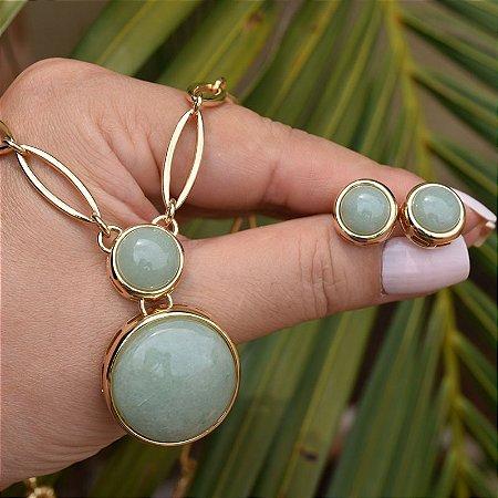Colar e brinco pedra natural quartzo verde ouro semijoia