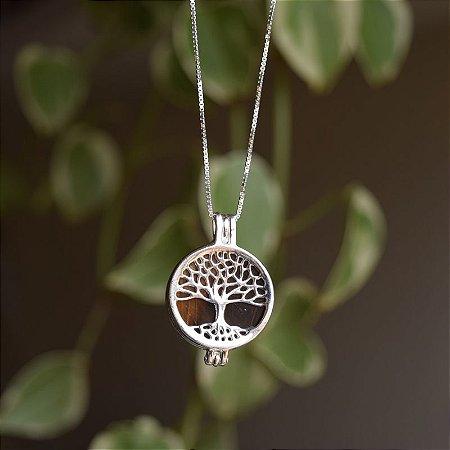 Colar árvore da vida pedra natural olho de tigre prata 925