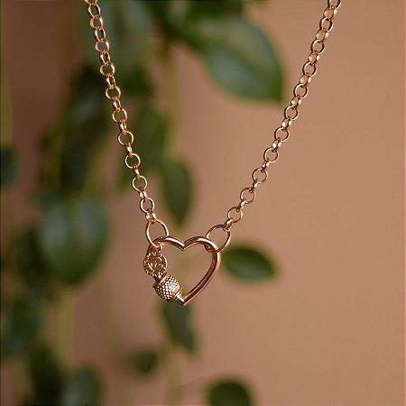 Colar corrente fecho coração ouro semijoia
