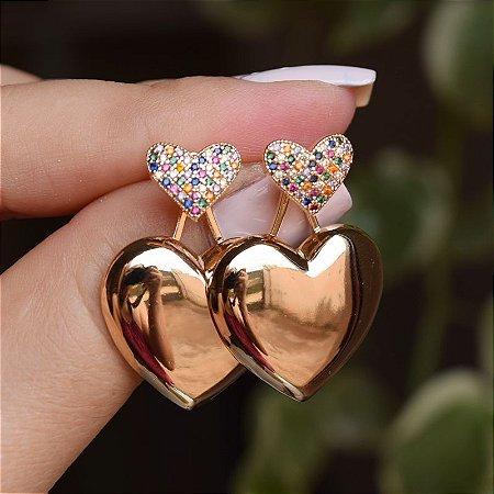 Brinco ear jacket coração zircônias coloridas ouro semijoia