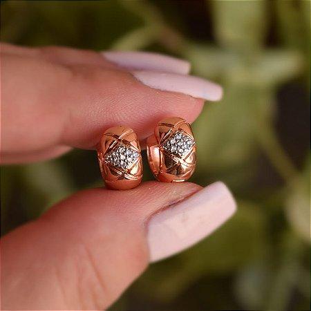 Brinco argolinha m zircônia ouro rosê semijoia 19A12080