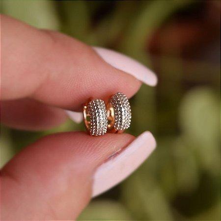 Brinco argolinha segundo furo texturizado ouro semijoia 17K03010