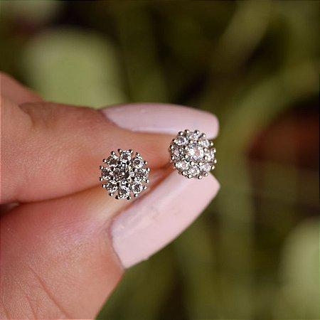 Brinco mini flor zircônia ródio semijoia 11A07085