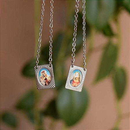 Escapulário aço inoxidável colorido Nossa Senhora do Carmo e Sagrado Coração de Jesus