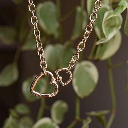 Colar corrente elos coração ouro semijoia