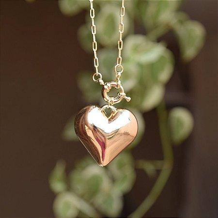 Colar corrente coração ouro semijoia