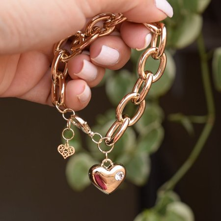 Pulseira corrente elos coração ouro semijoia