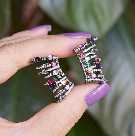 Piercing de encaixe aros zircônias coloridas ródio negro semijoia