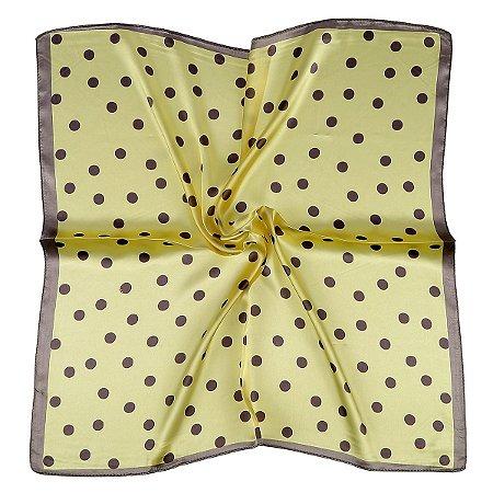 Lenço quadrado amarelo poá cinza