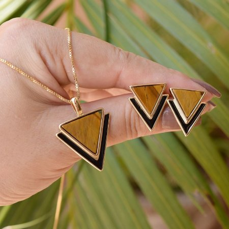 Colar e brinco geométrico pedra natural olho de tigre ouro semijoia