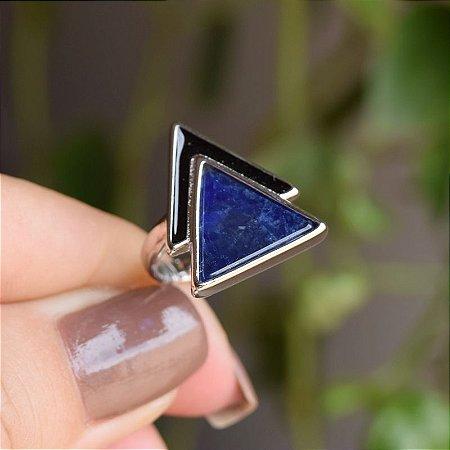 Anel geométrico pedra natural sodalita ródio semijoia