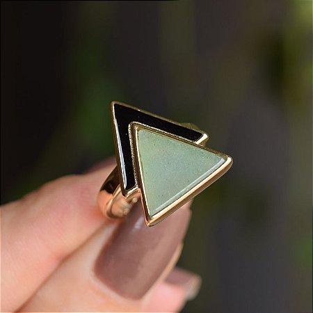 Anel geométrico pedra natural quartzo verde ouro semijoia
