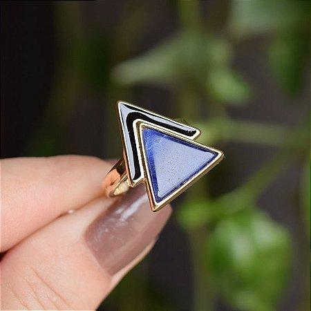 Anel geométrico pedra natural sodalita ouro semijoia