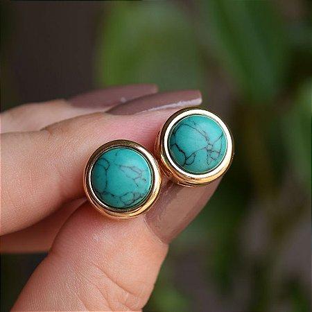 Brinco redondo pedra natural magnesite esmeralda ouro semijoia