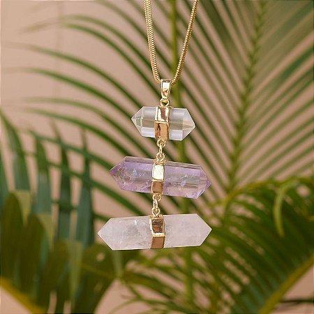 Colar pedras naturais cristais ouro semijoia