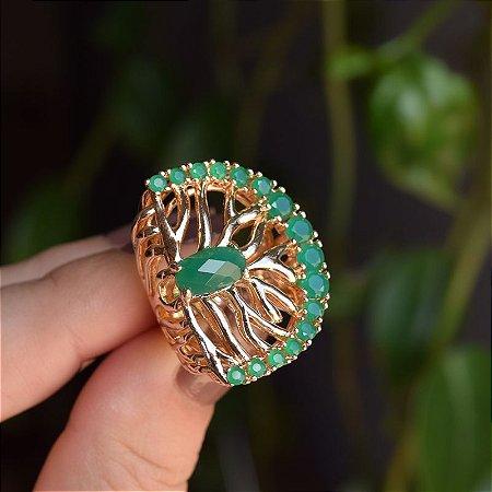 Anel cristal verde esmeralda ouro semijoia