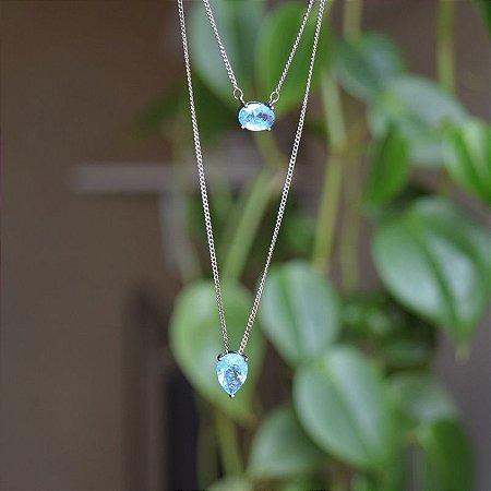 Colar cristal azul ródio negro semijoia