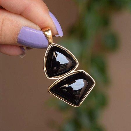 Pingente geométrico pedra natural ágata preta ouro semijoia
