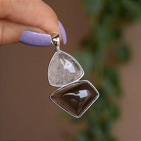 Pingente geométrico pedra natural quartzo rosa e obsidiana fumê ródio semijoia