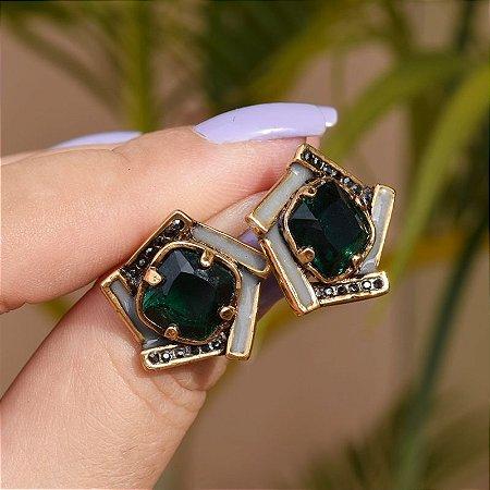 Brinco Claudia Arbex cristal verde ouro vintage semijoia