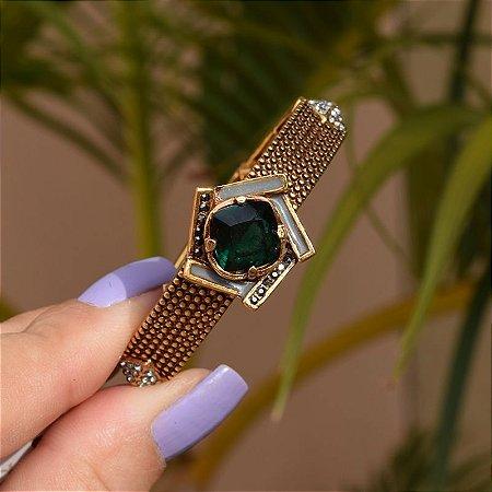Bracelete ajustável Claudia Arbex cristal verde ouro vintage semijoia